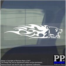 Bear Flame-Adhesive Vinyl Sticker-Car Window Graphic Decal Sign Animal,Grizzly