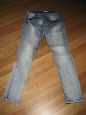 LADIES CUTE BLUE DENIM COTTON FADED SKINNY LEG JEANS BY VALLEY GIRL - SIZE 12