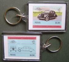 1937 LINCOLN ZEPHYR Car Stamp Keyring (Auto 100 Automobile)