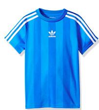 Nuevo Con Etiquetas Adidas Originales Trébol Chicos's Authentics Camiseta Top Camiseta Azul/Blanco Grande L