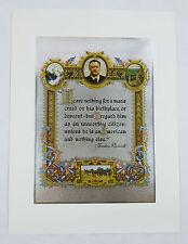 Vintage 1970's L.G. Leblanc Theodore Teddy Roosevelt Quote Color Foil Etch Print
