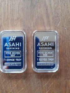 2 x 1oz new design 2021 Asahi .999 Silver bars. In capsules        (2)