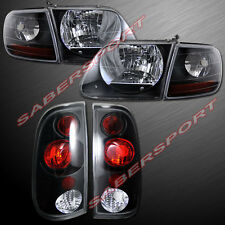 Set of Black Housing Headlights w/ Corner + Taillights for 1997.8-2003 Ford F150