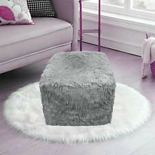 Teddy Foot Rest Stool Cuddles Chunky Chair Cube Footstool Pouf Bean Bag Silver