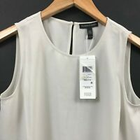 EILEEN FISHER Silk Georgette Crepe Round Neck Shell Top XXS Bone Color NWT $178