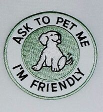 Pet Me Patch Dog Freind Iron On Club Motif Applique Dogs Green White Badge 169