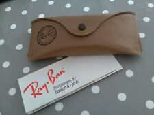 Bausch & Lomb Ray-Ban Brown Leather Style Sunglasses Glasses Case VGC + Leaflet