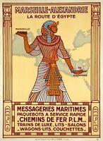 "Vintage Illustrated Travel Poster CANVAS PRINT Egypt train 8""X 12"""
