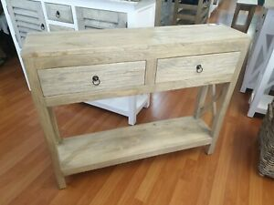 Lochi Rustic Hamptons coastal boho narrow slim thin hall table console elmwood