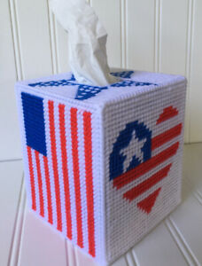 American Flag Tissue Cover  Red White And Blue handmade canvas. Flag Heart Star