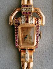 Beautiful Paul Ditisheim Ladies Rose Gold Ruby and Diamond Classic Retro Watch