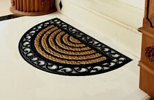 "Rubber Scroll Stripe Half Moon Coir Mat 18"" x 30"""