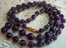 Antique Natural Dark Amethyst Gemstone Gold bead Necklace Screw clasp 24in 39 gr