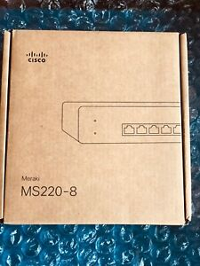 Cisco Meraki MS220-8 Cloud Managed Switch 8-Port Gigabit Switch. UNCLAIMED