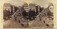 Francia Parigi Avenue Da L Opera, Foto Stereo Vintage Albumina Ca 1890