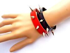 RED BLACK SPIKED CUFFS 1 pair veggie faux leather Harley Quinn punk bracelet Q2