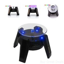 Solar Display Rotating Stand Turntable Rotary Light Led Battery Loading Top