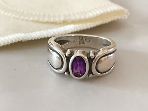 James Avery RETIRED Sterling Silver Scroll Amethyst OVAL Shape Ring Size 5 HTF