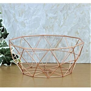 Copper Wire Fruit Bowl Bread Basket Storage Dish Dining Table Home Object Decor