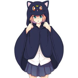 Anime Sailor Moon Luna Cat Cosplay Cloak Hooded Cape Fall Winter Blanket Shawl