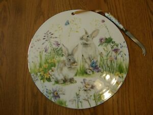 Williams Sonoma Floral Meadow Cheese Board/Platter/Plate with Knife-Summer-New