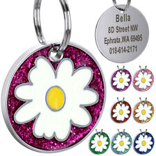 Engraved Pet ID Tags Personalized Stainless Steel DOg Tag & Front Flower Print