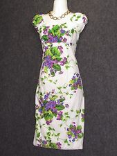BETSEY JOHNSON Colorful Floral Pattern Cap Sleeve Bodycon Dress SZ 2