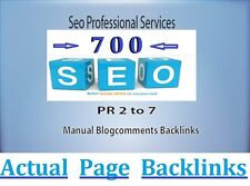 Manually 700 PR2 PR7 ( DA20+ ) blog comments links on ACTUAL PAGE . SEO