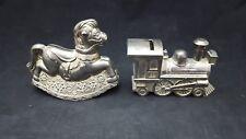 Vintage Metal Train & Rocking Horse Piggy Bank Lot