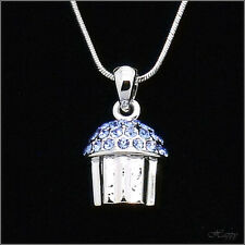 Mini Cupcake Baker Charm Cake Pendant Necklace Crystal Blue 3D Jewelry Teen Gift