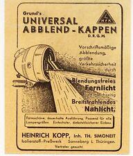SONNEBERG/Thr., Werbung / Anzeige 1939, Heinrich Kopp Grund's Abblend-Kappen
