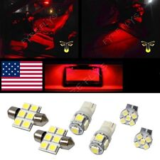 6 Red LED interior lights package T10 & 31mm map dome + license plate lamp G1R