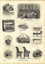 Old Engravings Oriental Divan Egyptian Couches Pillows Bedsteads Tables