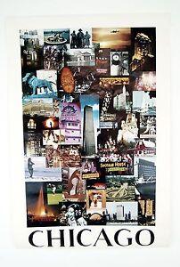 Vintage 1968 David Maenza Chicago Landmarks Poster Factory Sleeved Poster