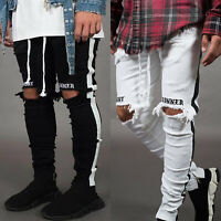 Men's Super Skinny Fit Ripped Jeans Trouser Stretch Biker Distressed Denim Pants