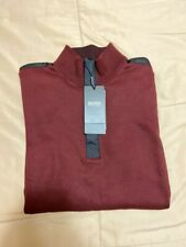 Men's HUGO BOSS Maroon Zip Cotton Sweater M NWT MSRP $158