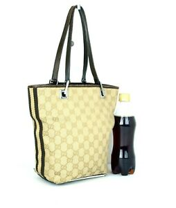 Auth GUCCI GG Beige Canvas & Brown Leather Mini Tote Hand Bag Purse Italy Used