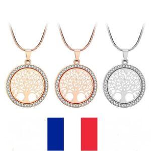 Collier Arbre de Vie Pendentif Strass Bijoux Cristal Mode Femme Or Argent
