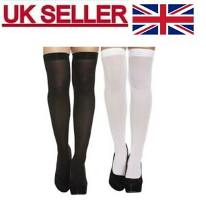 LADIES GIRLS HOLD UPS  OPAQUE STOCKINGS OVER KNEE THICK SOCKS FANCY DRESS