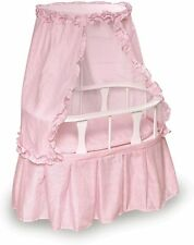 Badger Basket Oval Doll Bassinet with Canopy and Pink Gingham Bedding