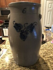 6 Gallon Cobalt Blue floral decorated butter churn stoneware crock