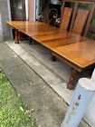 """50"""" VICTORIAN CARVED OAK DINING TABLE, 7-14"""" LEAVES"""
