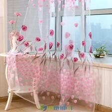 Pastoral Tulip Window Door Curtain Tulle Voile Drape Sheer Scarf Home Room Decor