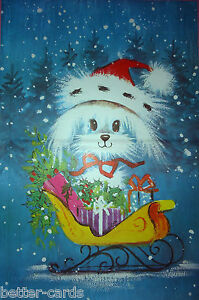 Vintage 1970s Christmas Gift Wrapping Paper ~ Happy Merry Cute Puppy Dog Santa