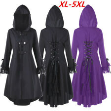 5XL Plus Women Vintage Victorian High Low Hooded Coat Swallow Lace Gothic Jacket