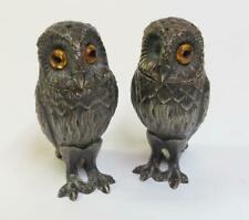 Vintage Tiffany & Co Sterling Silver OWL Figural Salt & Pepper Shakers - England