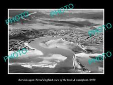 Old Large Historic Photo Of Berwick On Tweed England, The Town & River c1950 2