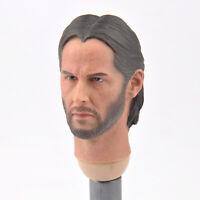 1/6 Scale John Wick Keanu Reeves Male Head Sculpt Fit 12'' Action Figure Toy