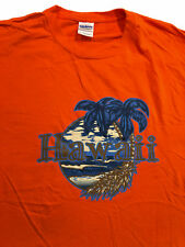 Hawaii Palm Trees Orange 100% Cotton T-Shirt Sz. XL