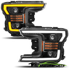 For 2018 2019 Ford F150 LED DRL/Turn Signal Black Dual Projector Headlights Pair